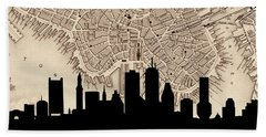 Boston Skyline Vintage Beach Towel by Andrew Fare