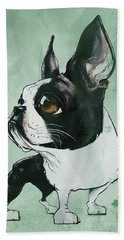 Boston Terrier - Green  Beach Towel