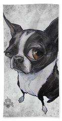 Boston Terrier - Grey Antique Beach Towel