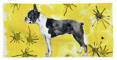 Beach Sheet featuring the painting Boston Terrier On Yellow by Zaira Dzhaubaeva
