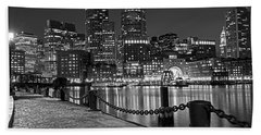 Boston Waterfront Boston Skyline Black And White Beach Sheet