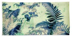Beach Towel featuring the mixed media Botanical Art - Fern by Bonnie Bruno