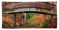Botanical Gardens Arched Bridge Asheville During Fall Beach Towel