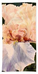 Botanical Peach Iris Beach Sheet by Laurie Rohner