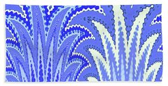 Botanicals In Blue Beach Towel by Ann Johndro-Collins