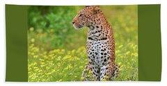 Botswana Leopard  Beach Towel by Happy Home Artistry