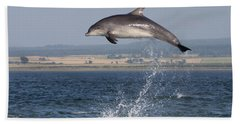 High Jump - Bottlenose Dolphin  - Scotland #42 Beach Sheet
