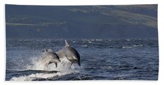 Bottlenose Dolphins Leaping - Scotland  #37 Beach Sheet