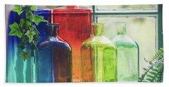 Bottles In The Window Beach Sheet
