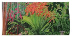 Beach Towel featuring the painting Bougainvillea Garden by Hilda and Jose Garrancho