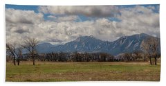 Beach Towel featuring the photograph Boulder Colorado Front Range Panorama View by James BO Insogna