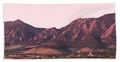 Boulder Colorado Flatirons 1st Light Panorama Beach Towel