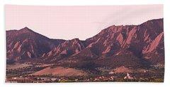 Boulder Colorado Flatirons 1st Light Panorama Beach Sheet
