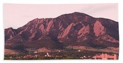 Boulder Colorado Flatirons 1st Light Panorama Beach Towel