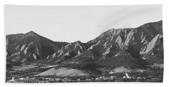 Boulder Colorado Flatirons And Cu Campus Panorama Bw Beach Towel