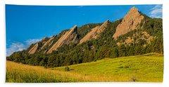 Boulder Colorado Flatirons Sunrise Golden Light Beach Towel