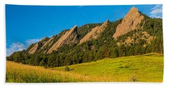 Boulder Colorado Flatirons Sunrise Golden Light Beach Towel