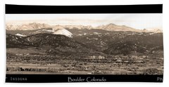 Boulder Colorado Sepia Panorama Poster Print Beach Towel