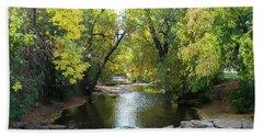 Boulder Creek Tumbling Through Early Fall Foliage Beach Towel