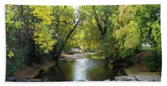 Boulder Creek Tumbling Through Early Fall Foliage Beach Towel