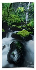 Beach Towel featuring the photograph Boulder Elowah Falls Columbia River Gorge Nsa Oregon by Dave Welling