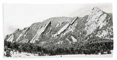 Boulder Flatirons Colorado 1 Beach Sheet by Marilyn Hunt
