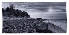 Beach Towel featuring the photograph Boulders And Barnacles by Robin-Lee Vieira