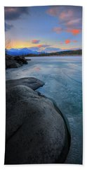 Beach Sheet featuring the photograph Boulders And Ice On The Athabasca River by Dan Jurak