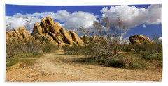 Boulders At Apple Valley Beach Towel by James Eddy