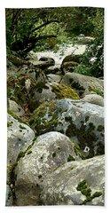 Boulders At Kanaskat Beach Towel by Lori Seaman
