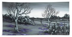 Beach Towel featuring the painting Boundry Fence. by Kenneth Clarke