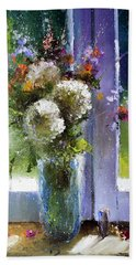 Bouquet At Window Beach Sheet by Igor Medvedev