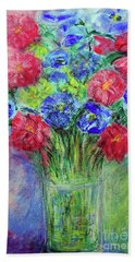 Beach Towel featuring the painting Bouquet by Jasna Dragun