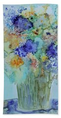 Beach Towel featuring the painting Bouquet Of Blue And Gold by Joanne Smoley