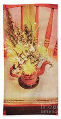 Bouquet Of Dried Flowers In Red Pot Beach Towel