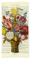 Bouquet Of Flowers On Dictionary Paper Beach Towel
