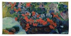 Bouquet Of Flowers Beach Towel by Paul Gauguin