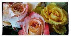 Beach Towel featuring the photograph Bouquet Of Mature Roses At The Counter by Mr Photojimsf