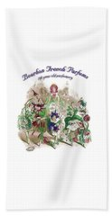 Beach Towel featuring the digital art Bourbon French Perfume by ReInVintaged