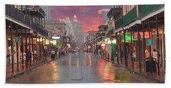 Bourbon Street At Night Beach Sheet