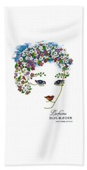 Beach Towel featuring the digital art Bourjois by ReInVintaged