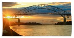Bourne Bridge Sunset Beach Towel by Amazing Jules