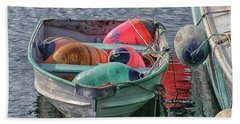 Bouys In A Boat Beach Towel by Mike Martin