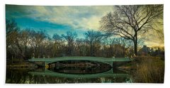Beach Towel featuring the photograph Bow Bridge Reflection by Chris Lord