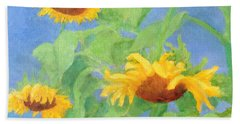 Bowing Sunflowers Colorful Original Painting Beach Towel by Elizabeth Sawyer