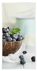 Bowl Of Fresh Blueberries Beach Sheet