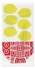 Bowl Of Lemons- Art By Linda Woods Beach Towel