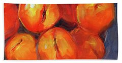 Beach Towel featuring the painting Bowl Of Peaches Still Life by Nancy Merkle