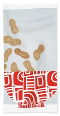Bowl Of Peanuts- Art By Linda Woods Beach Towel