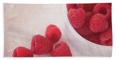 Bowl Of Red Raspberries Beach Towel